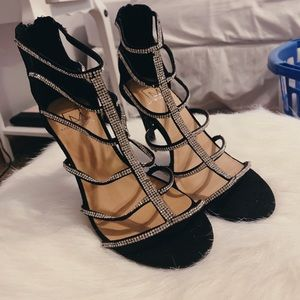 Material Girl Black Sparkly Heels